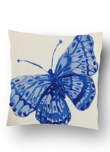 Lyn Home & Decor Mavi Kelebek Yastık Kılıfı Renkli